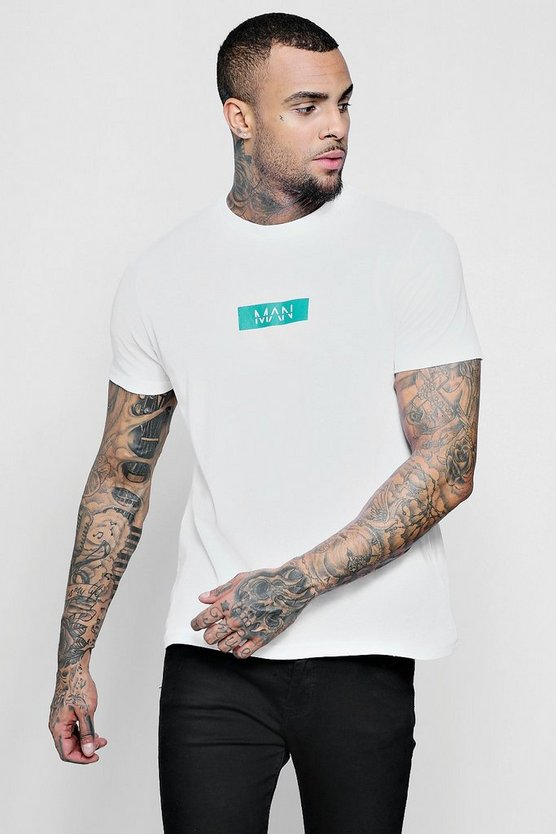 Mens White MAN Jade Box Logo Print T-Shirt