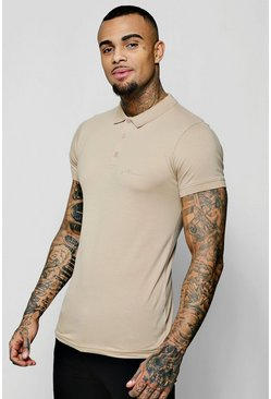 Mens Taupe Short Sleeve Muscle Fit MAN Signature Polo