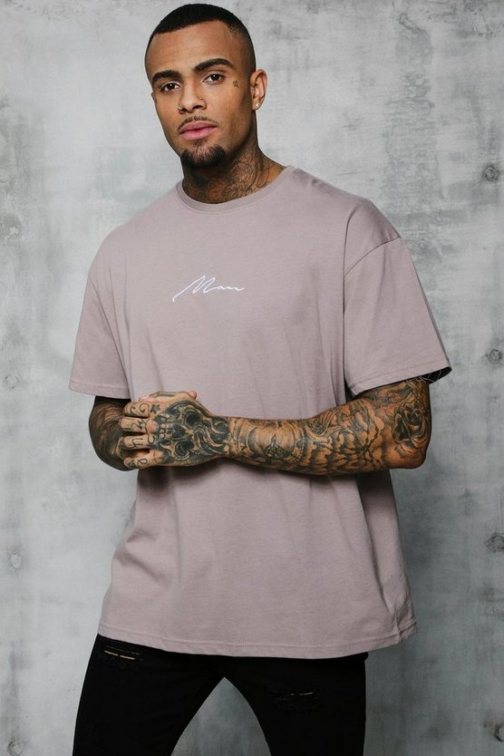 Mens Bark Oversized MAN Signature Embroidered T-Shirt