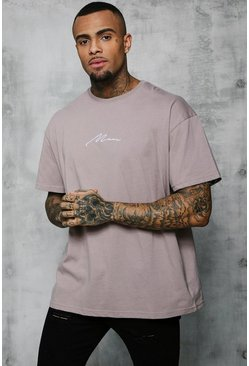 Oversized-T-Shirt mit MAN-Stickerei, Braun, Herren
