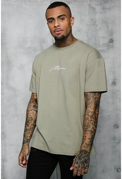 Mens Sage silver Oversized MAN Signature Embroidered T-Shirt