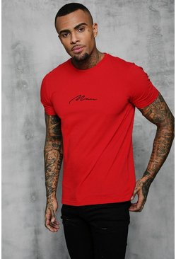 Mens Fire red MAN Signature Embroidered T-Shirt