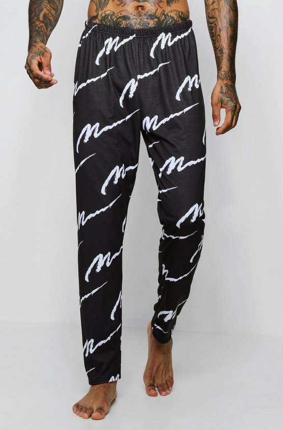 Mens Black All Over MAN Design Lounge Pants