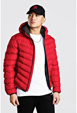 Mens Red Quilted Zip Through Jacket With Hood