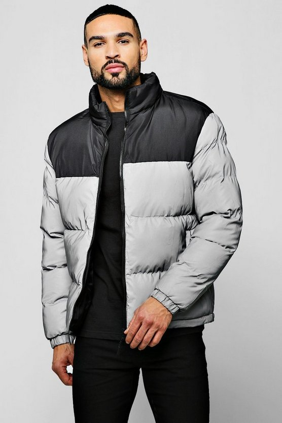Reflective Puffer Jacket With Contrast Panel