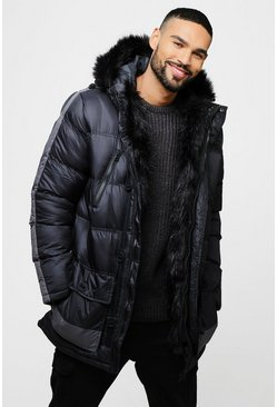Mens Grey Parka With Faux Fur Lining And Hood