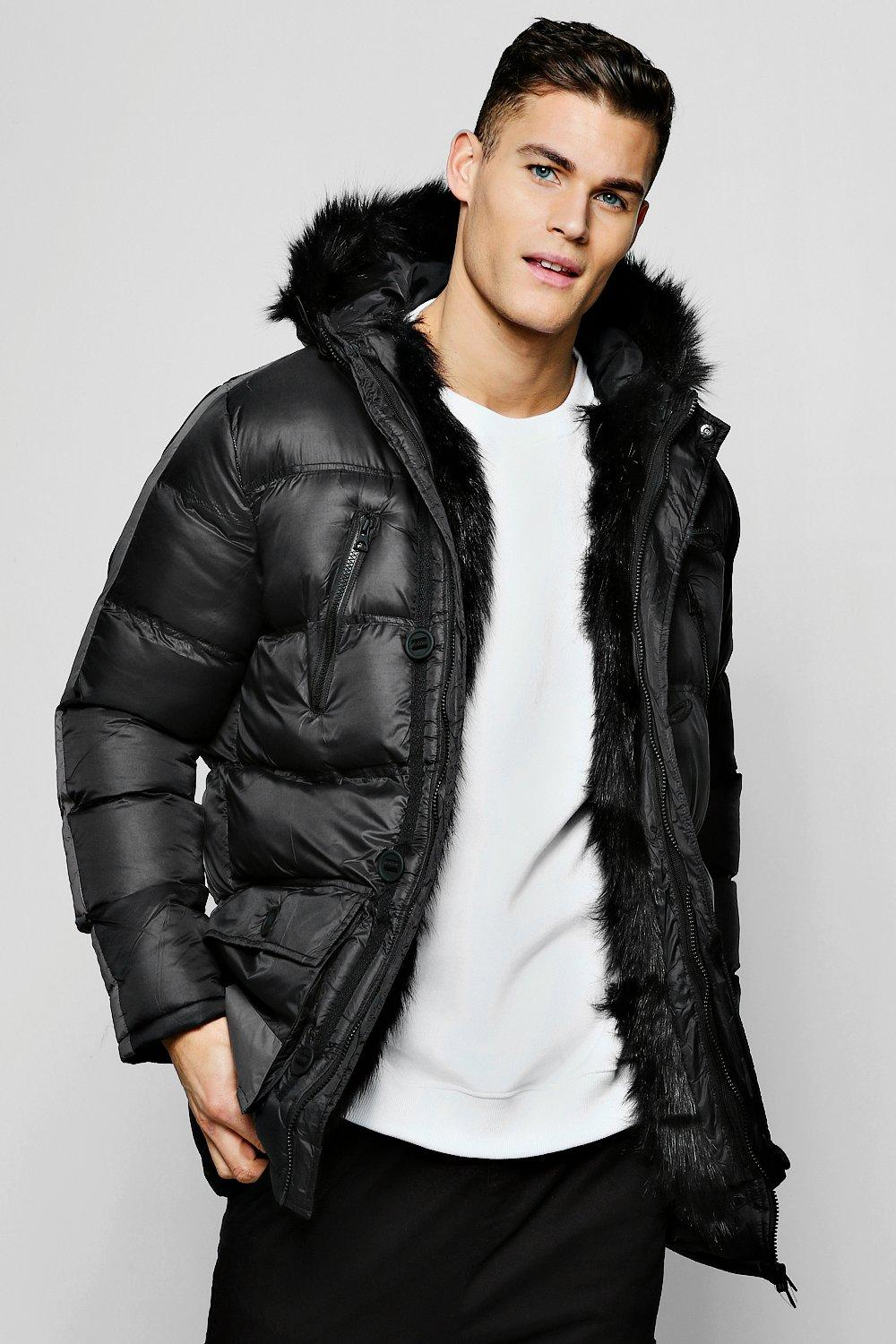 Parka With Faux Fur Lining And Hood
