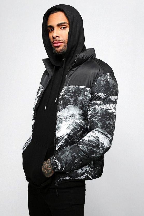 Mens Black Abstract Printed Puffer Jacket