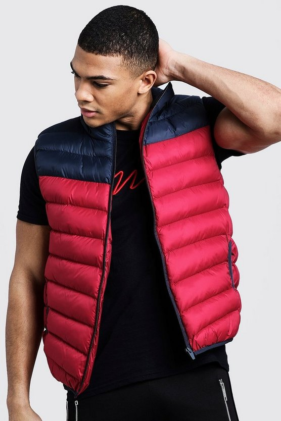 Mens Red Colour Block Padded Gilet