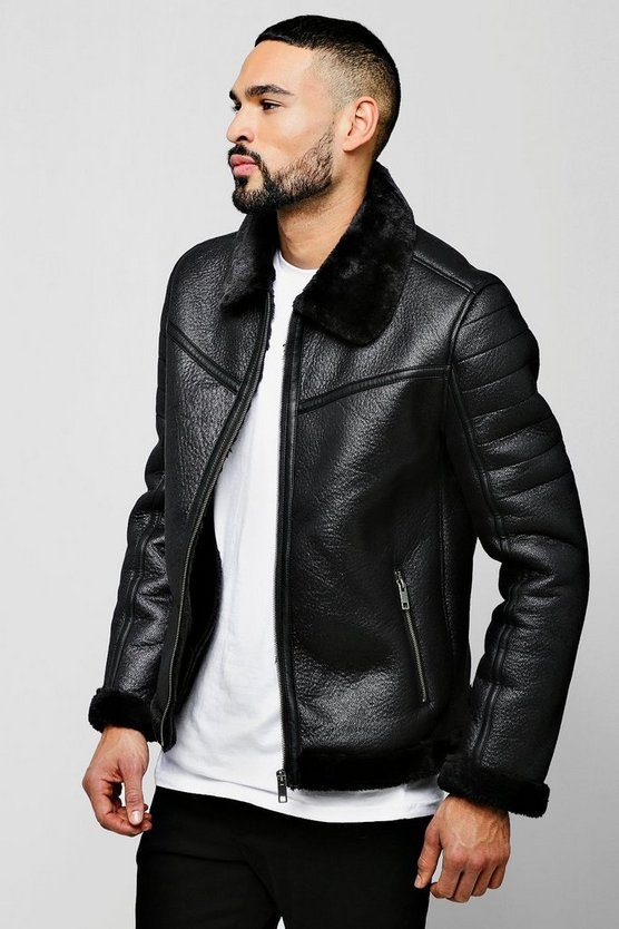 Mens Black Faux Suede Aviator Jacket With Faux Fur Collar