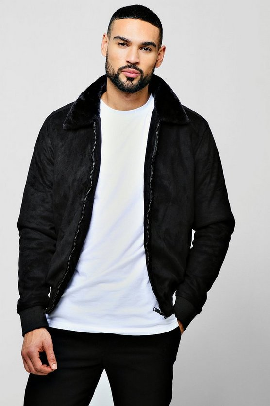 Mens Black Faux Suede Jacket With Faux Fur Collar