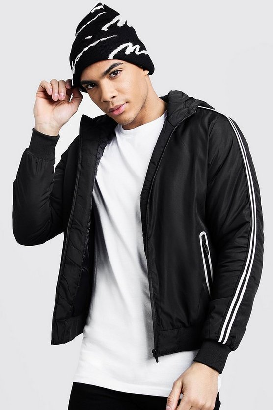 Mens Black Hooded Bomber With Sleeve Taping