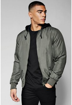 Mens Khaki Bomber Jacket With Jersey Hood