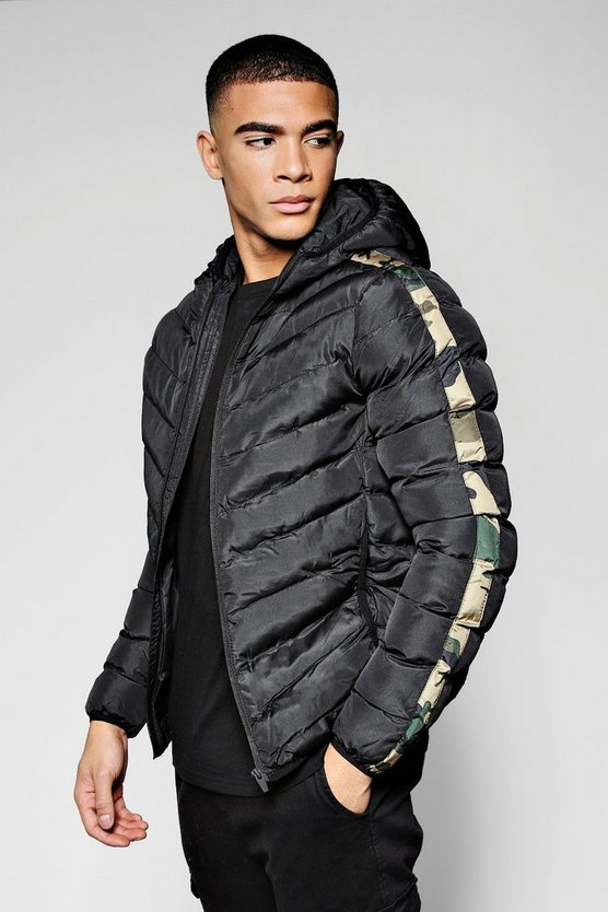 Mens Black Hooded Puffer Jacket With Camo Panel