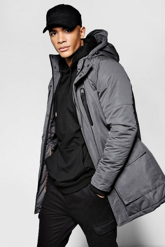 Hooded Parka Jacket With Utility Pockets