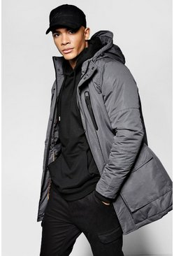 Mens Charcoal Hooded Parka Jacket With Utility Pockets