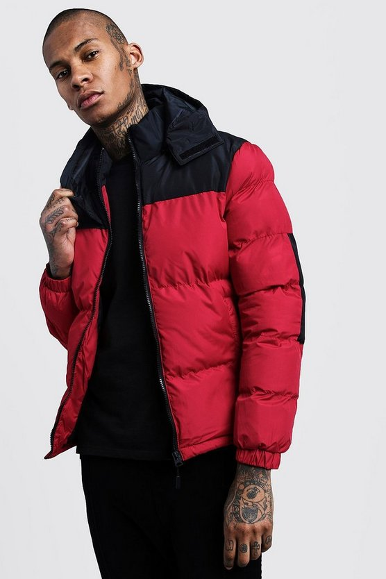 Mens Red Colour Block Hooded Puffer Jacket
