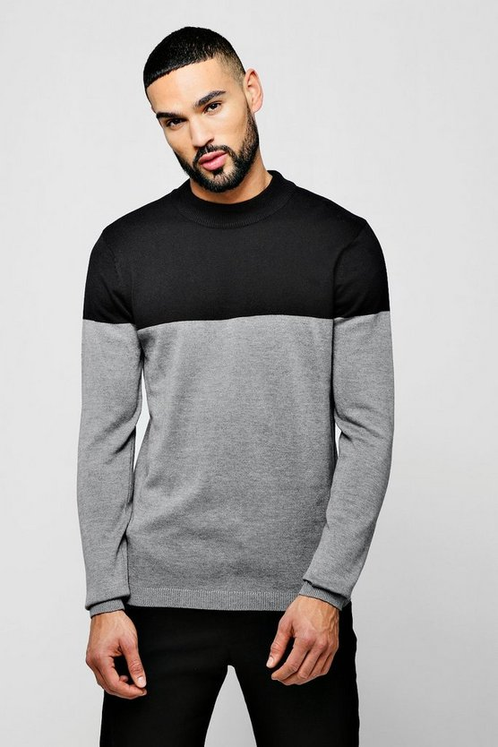 Mens Black Turtle Neck Contrast Jumper