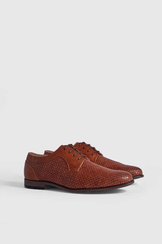 Mens Tan Faux Leather Embossed Smart Shoe