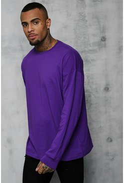 Mens Purple Oversized Long Sleeve T-Shirt