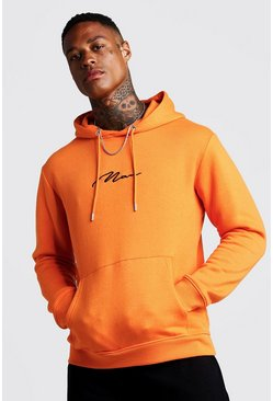Mens Orange MAN Signature Embroidered Hoodie