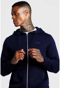 Mens Navy Original MAN Zip Through Hoodie