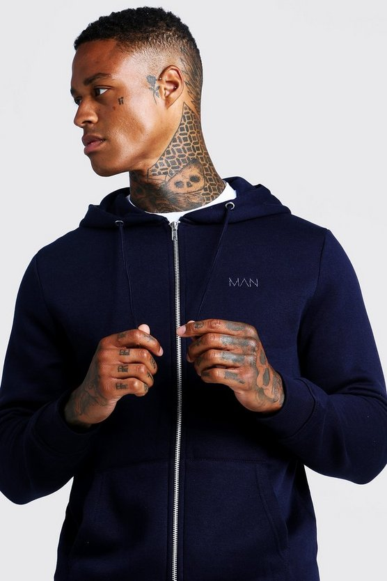 Original MAN Zip Through Hoodie, Navy, Uomo