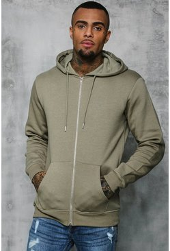 Original MAN Zip Through Hoodie, Sage silver, Uomo