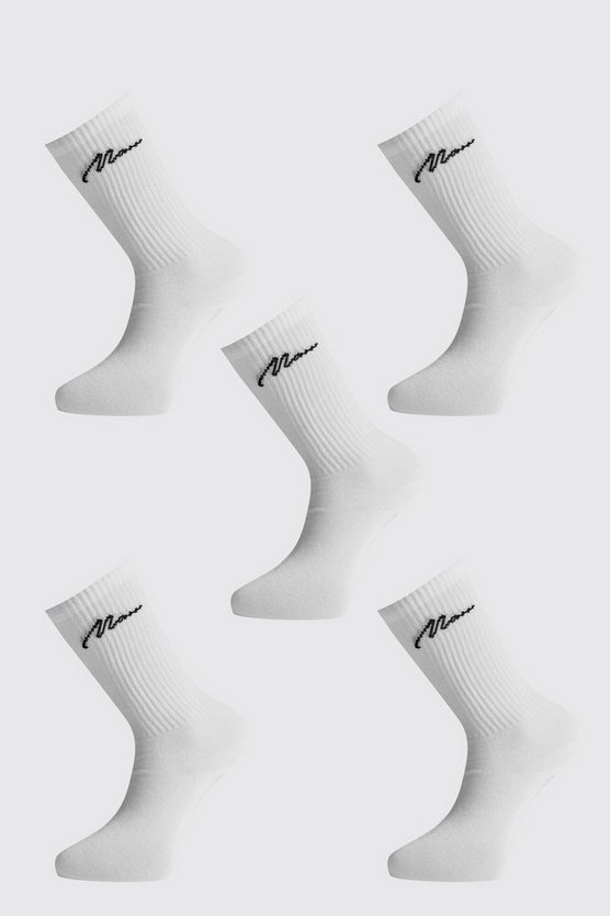 5PK MAN Script Ribbed Sports Socks