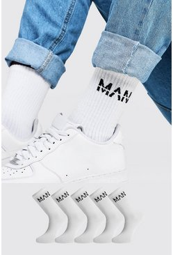 Mens White 5PK MAN Dash Ribbed Sports Socks