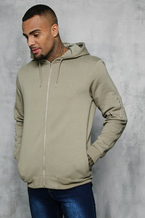 MA1 Pocket Zip Through Hoodie