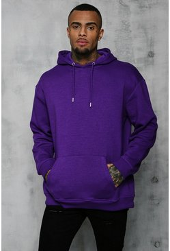 Mens Purple Fleece Oversized Over The Head Hoodie