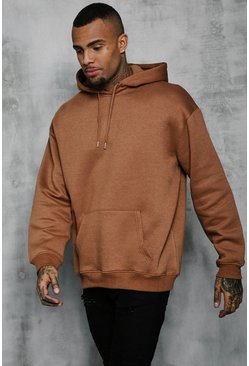 Mens Tobacco Fleece Oversized Over The Head Hoodie