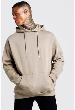 Fleece Oversized Over The Head Hoodie, Sage silver, Uomo