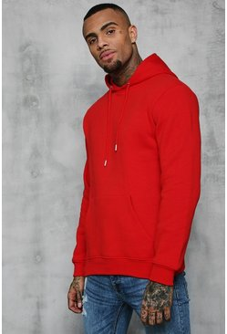 Mens Fire red Basic Over The Head Fleece Hoodie