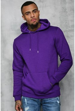 Mens Purple Basic Over The Head Fleece Hoodie