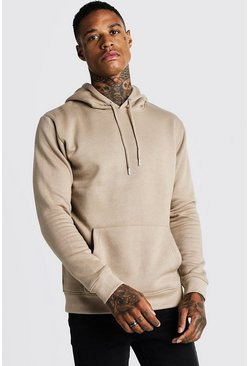 Mens Taupe Basic Over The Head Fleece Hoodie