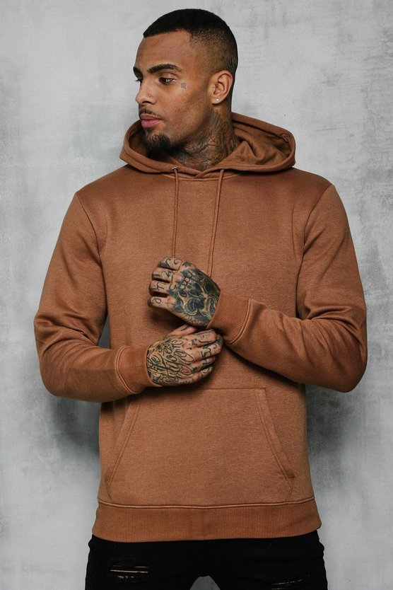 Basic Over The Head Fleece Hoodie, Tobacco, Uomo