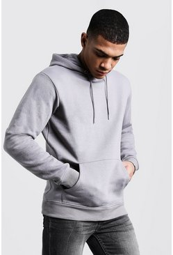 Basic Over The Head Fleece Hoodie, Ash, Uomo