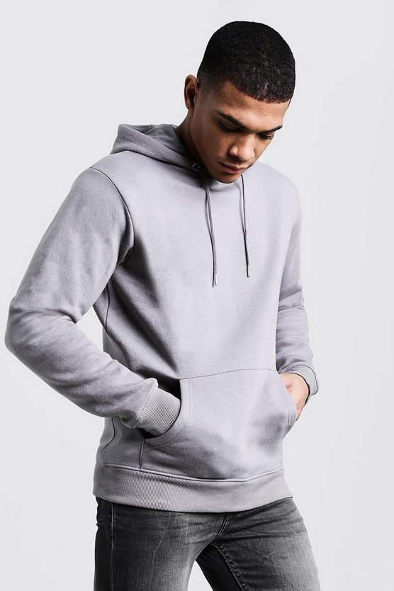 Mens Ash Basic Over The Head Fleece Hoodie