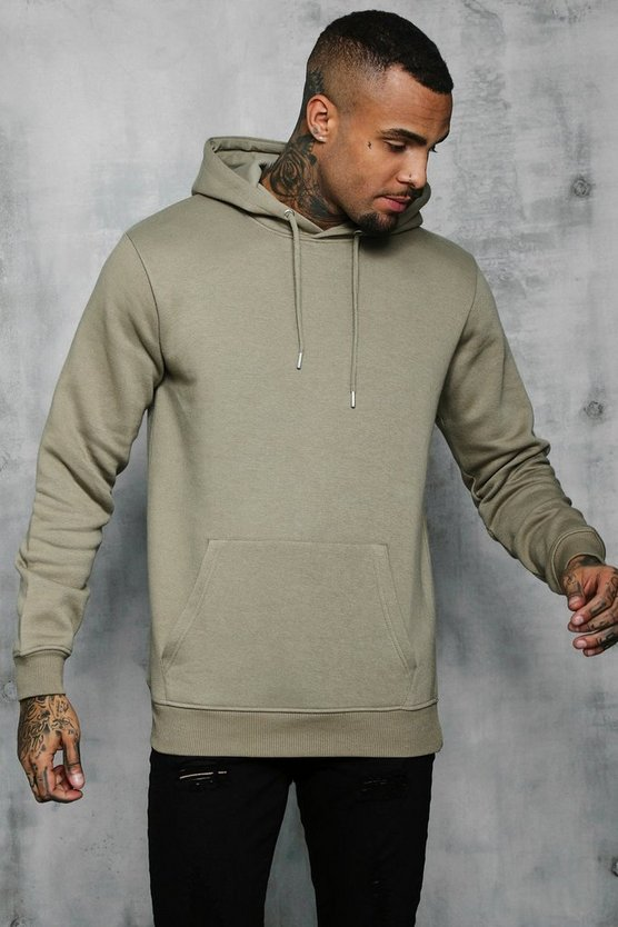 Basic Over The Head Fleece Hoodie, Sage silver, Uomo