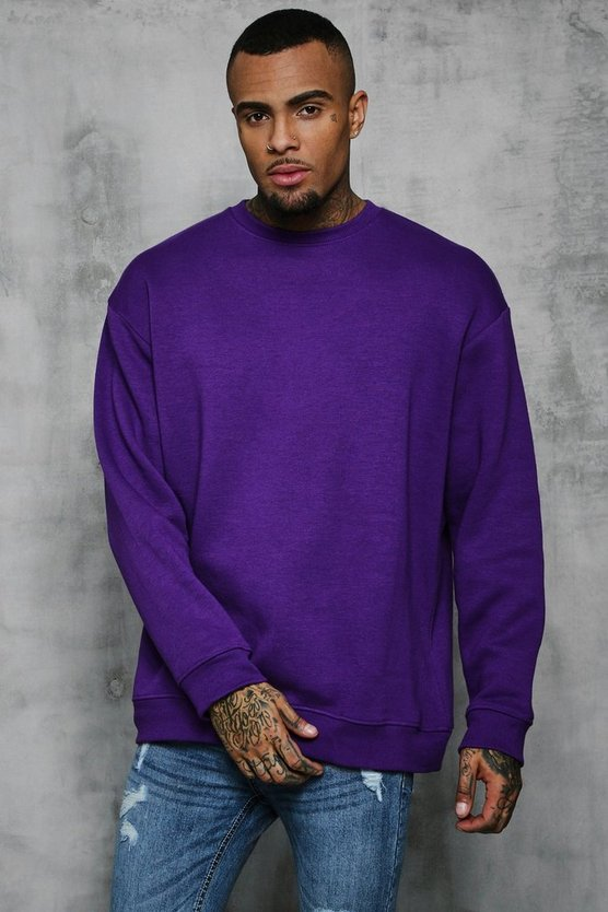 Mens Purple Fleece Oversized Sweatshirt