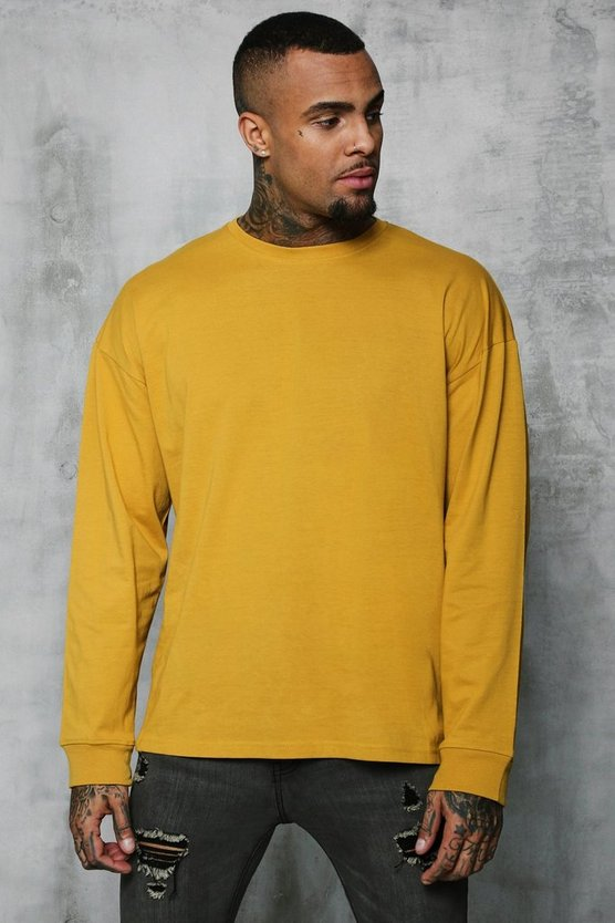 Mens Honey Oversized Long Sleeve T-Shirt