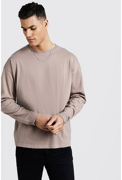 Mens Taupe Oversized Long Sleeve T-Shirt