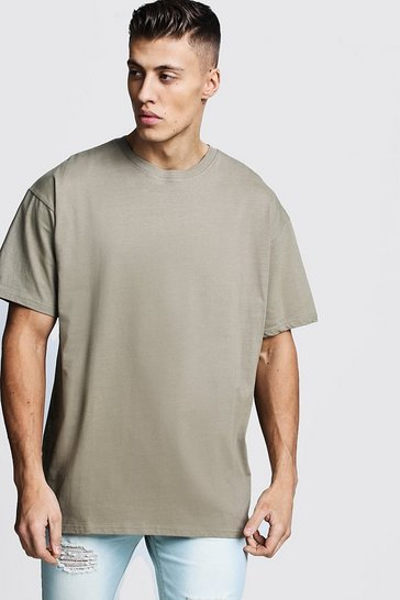 Mens Sage silver Oversized Crew Neck T-Shirt