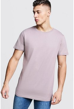 Short Sleeve Longline T Shirt With Curve Hem, Bark, Uomo