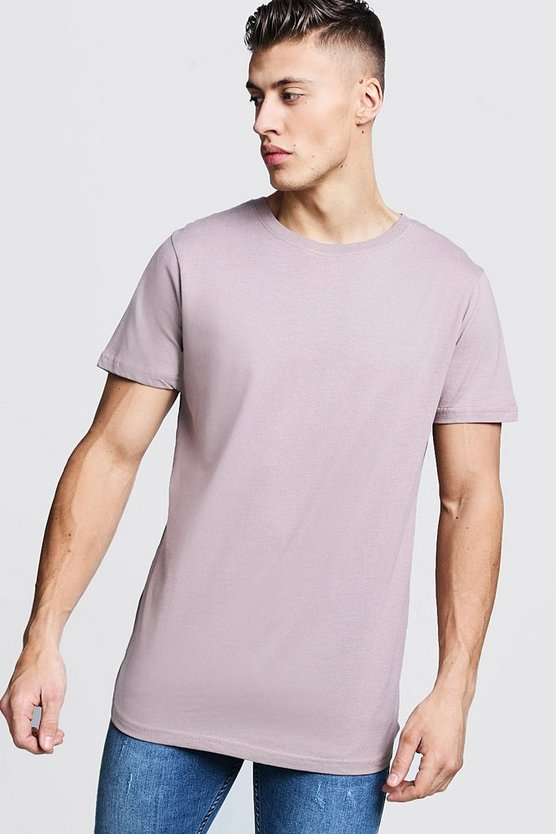 Mens Bark Short Sleeve Longline T Shirt With Curve Hem