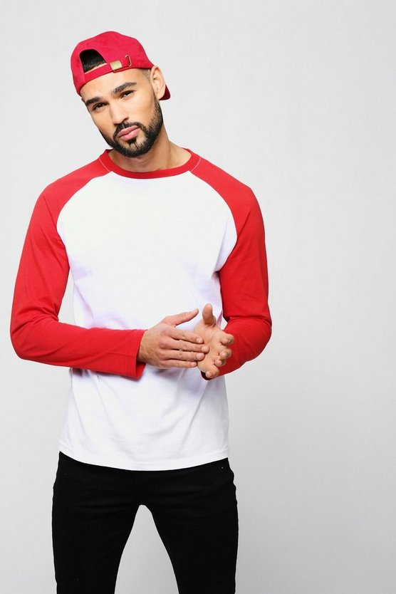 Fire red Long Sleeve Raglan Contrast T-Shirt