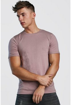 Bark Crew Neck T-Shirt With Rolled Sleeves