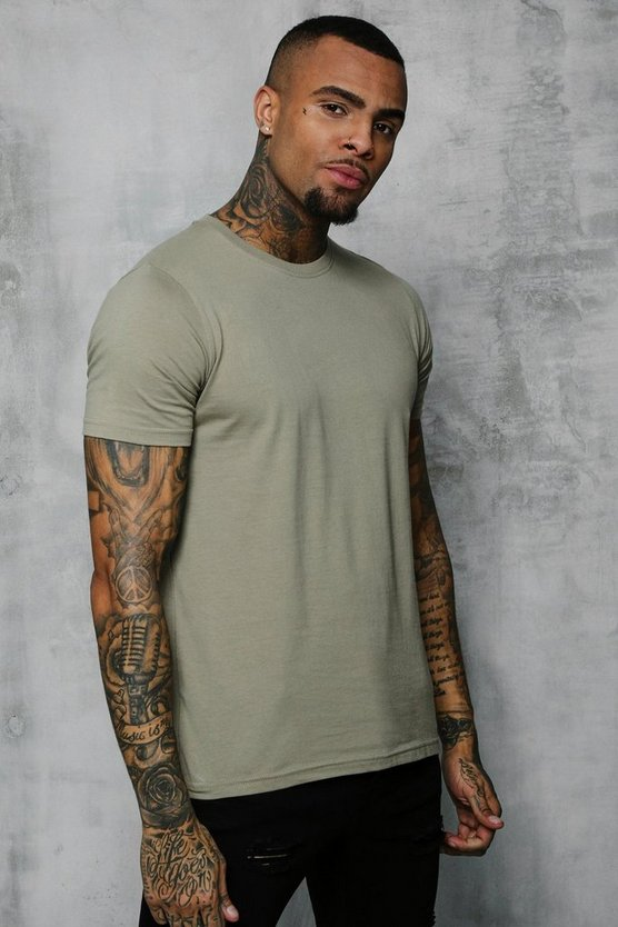 Mens Sage silver Basic Crew Neck T Shirt